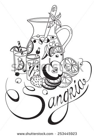 321x470 Freehand Sketch Style Drawing Of Pitcher Of Sangria, Two Glasses