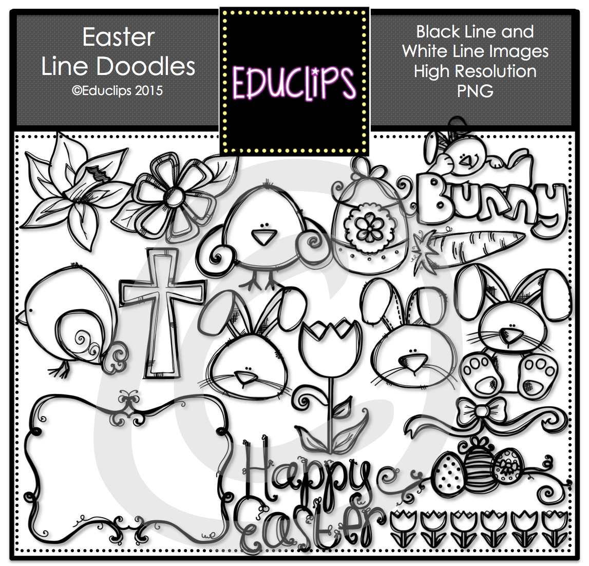 1147x1102 Easter Chalkboard And Whiteboard Line Doodles Clip Art