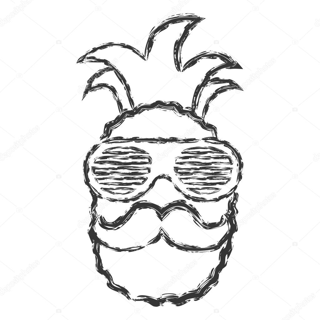 1024x1024 Vector Hand Drawn Brush Line Chalk Black Pineapple With Glasses