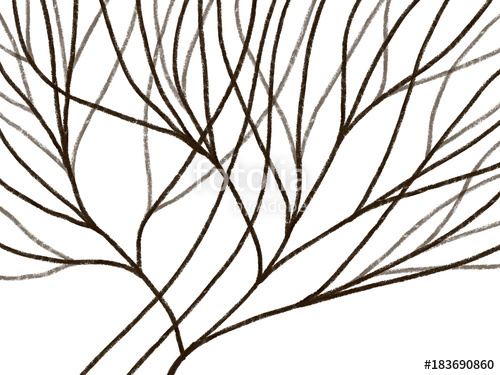 500x375 Colorful Hand Drawn Bright Brown Trees On White Background