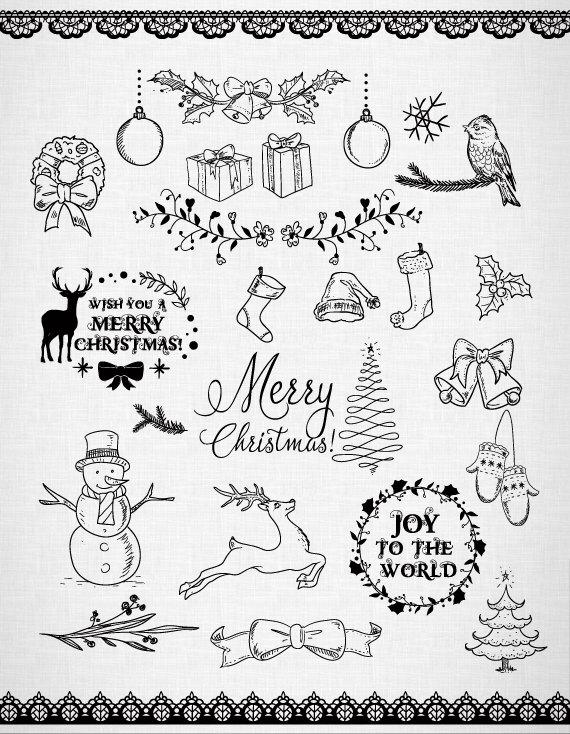 570x734 Chalkboard Christmas Doodles Clipart Christmas Clipart. Diy