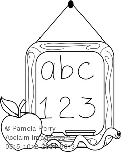 239x300 Clip Art Image Of A Chalkboard With An Apple And A Worm Coloring Page