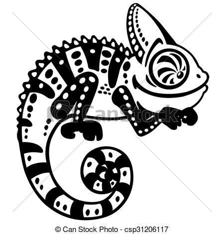 450x470 Chameleon Clipart Drawn