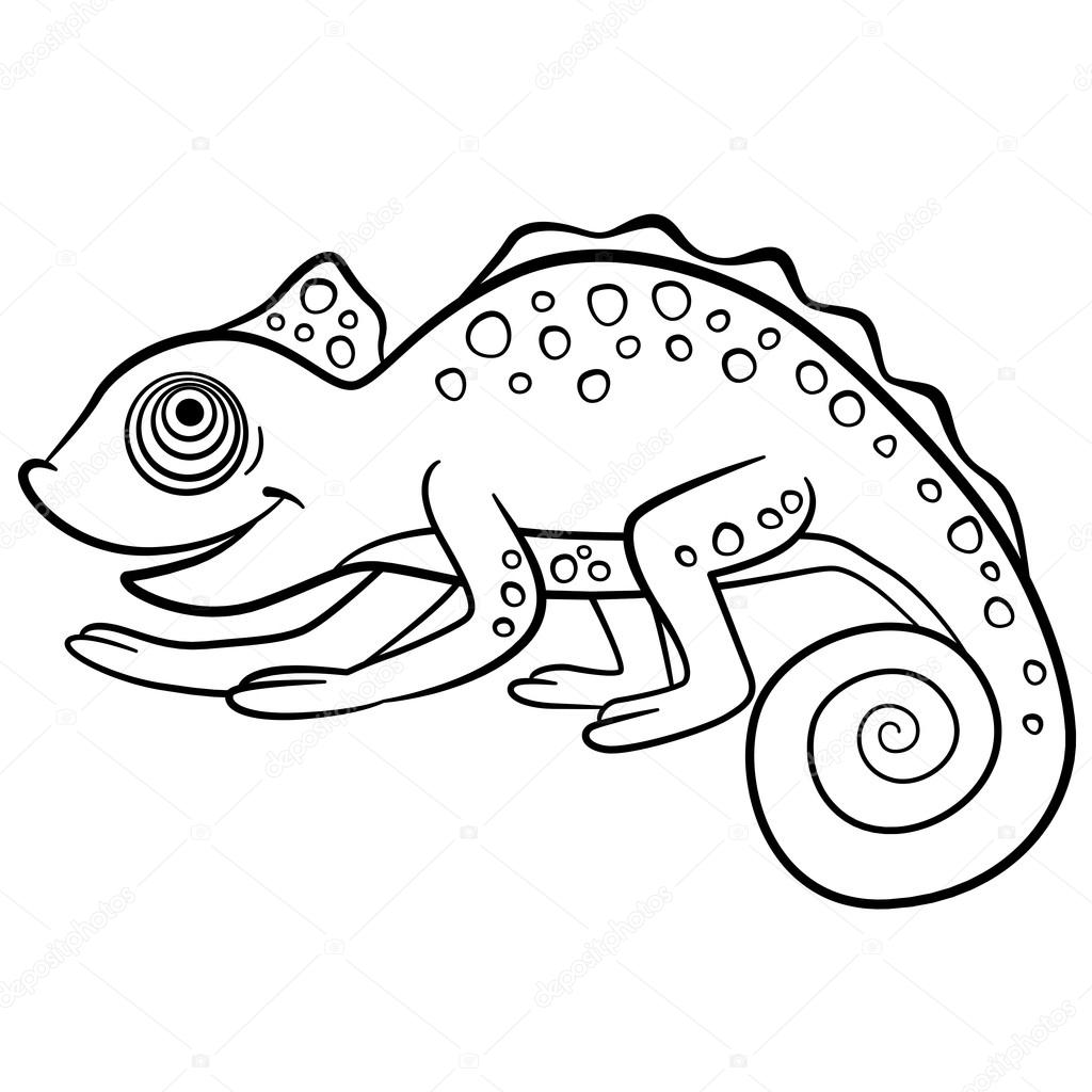 1024x1024 Coloring Pages. Wild Animals. Little Cute Chameleon. Stock