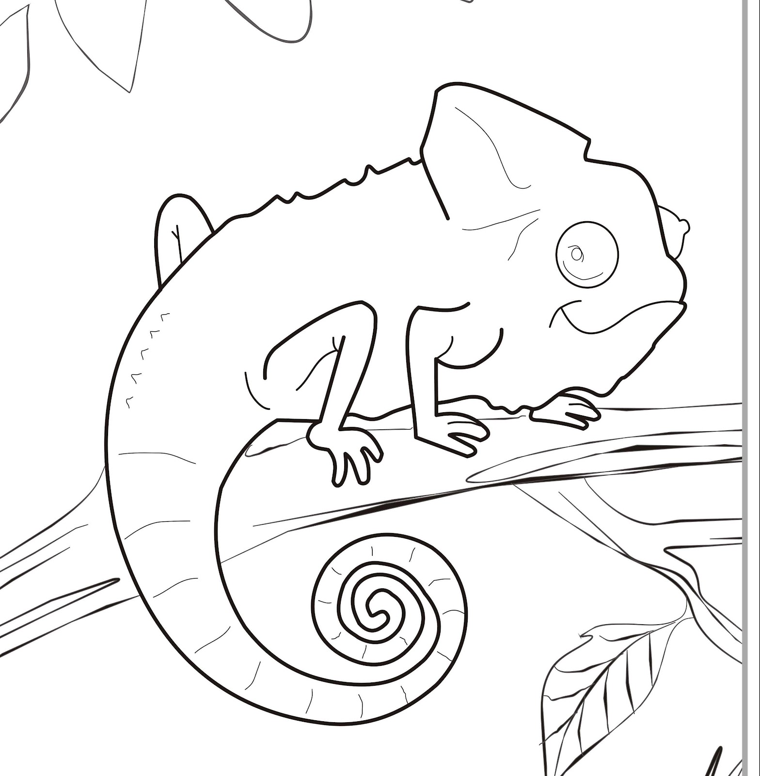 1568x1600 Drawn Cameleon Coloring Page