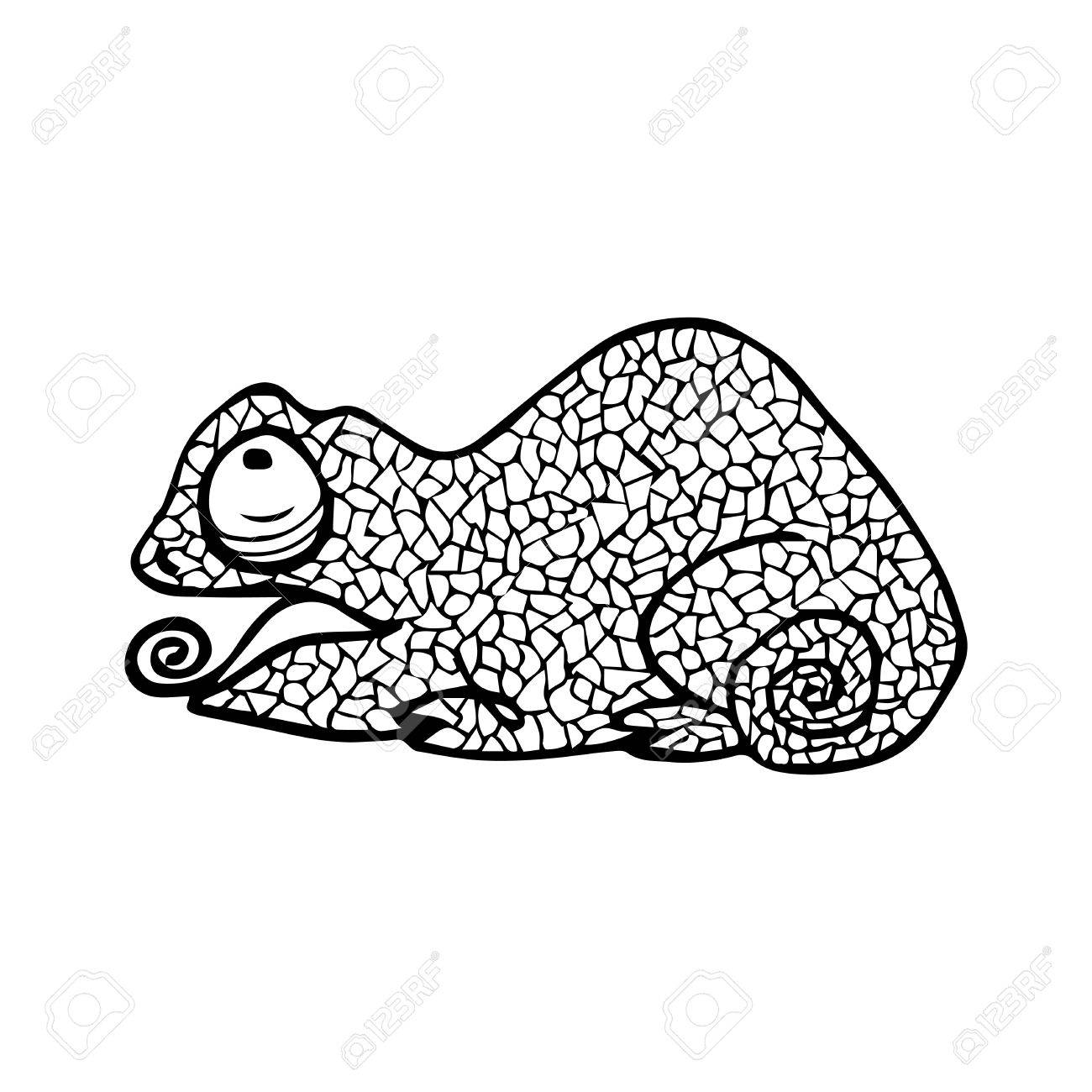 1300x1300 Vector Illustration Of Chameleon With Doodle Pattern. Coloring