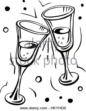 300x387 Hand Drawn Illustration Of Champagne, Glasses And Roses Stock