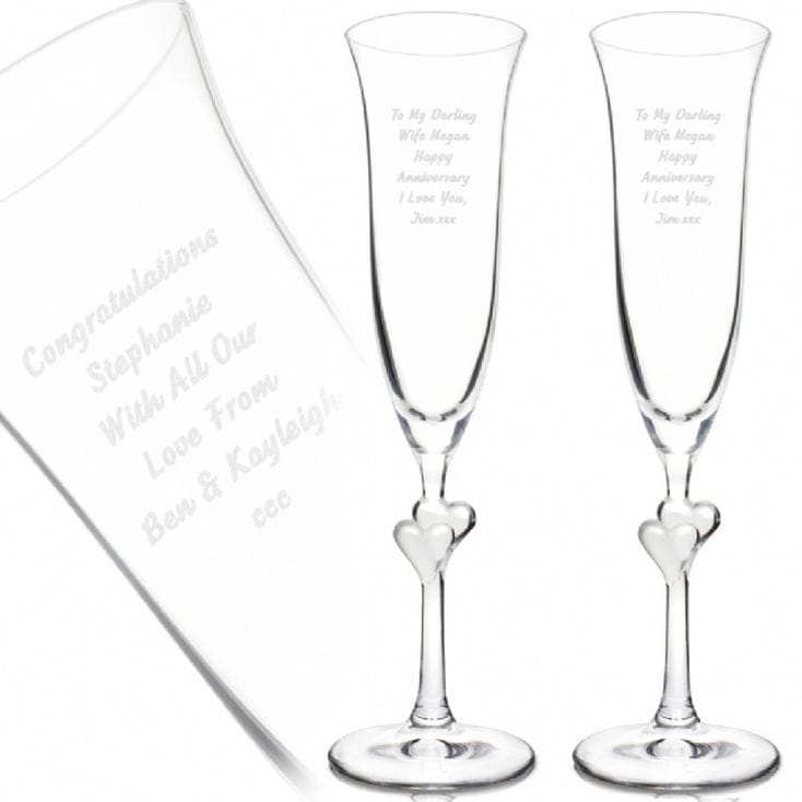 734x734 Personalised Champagne Flutes With Heart Stems Find Me A Gift