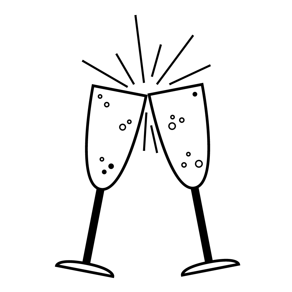 1024x1024 Toasting Glasses Drawing