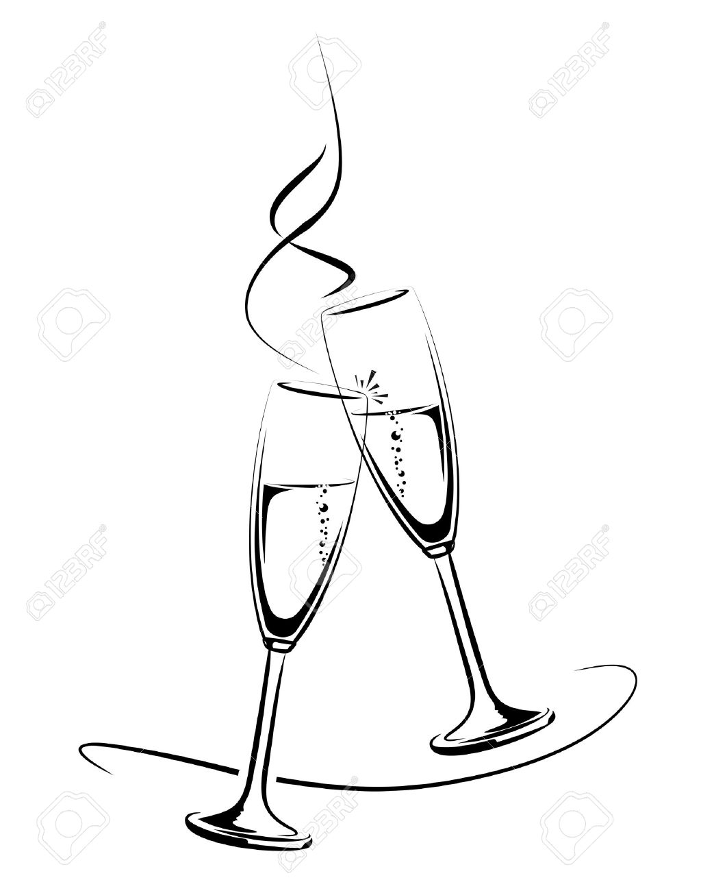 Champagne Glass Drawing_