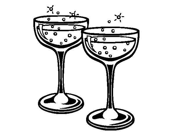 600x470 Champagne Glasses Coloring Page 3525 60th