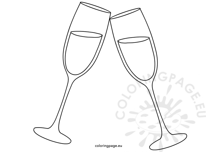 808x595 Cheers Two Champagne Glasses Coloring Page