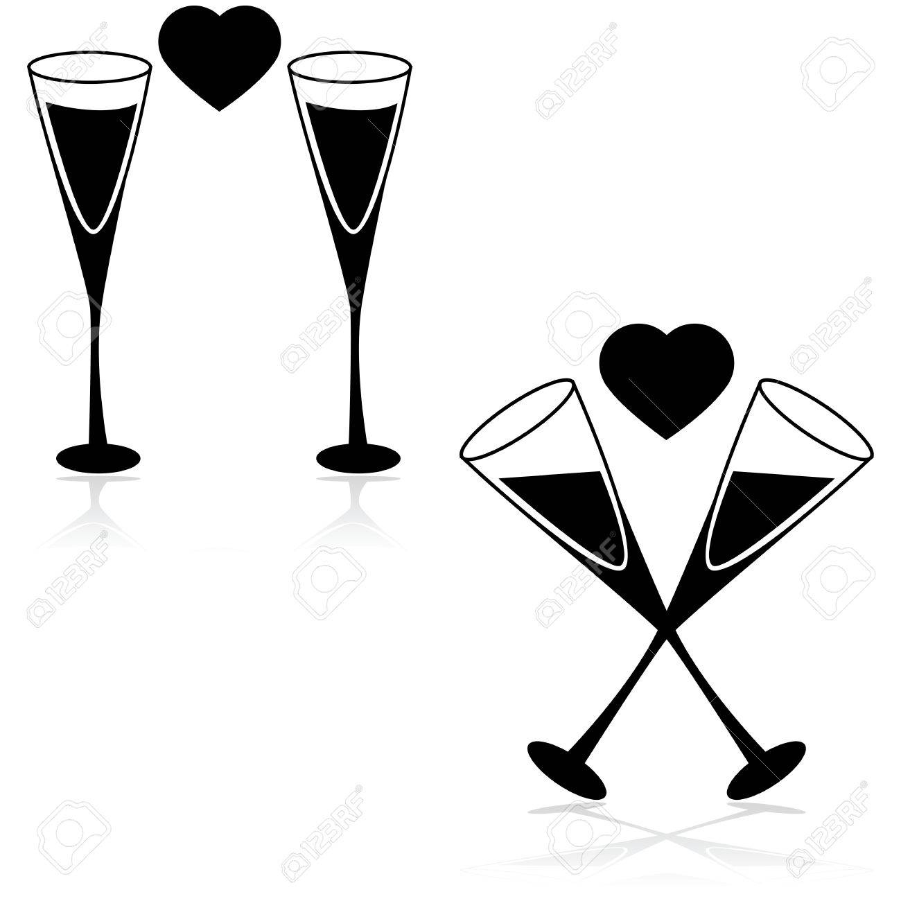 1300x1300 Icon Set Showing Two Champagne Glasses With A Heart In Between