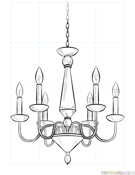 446x575 How To Draw A Chandelier Step By Step Drawing Tutorials