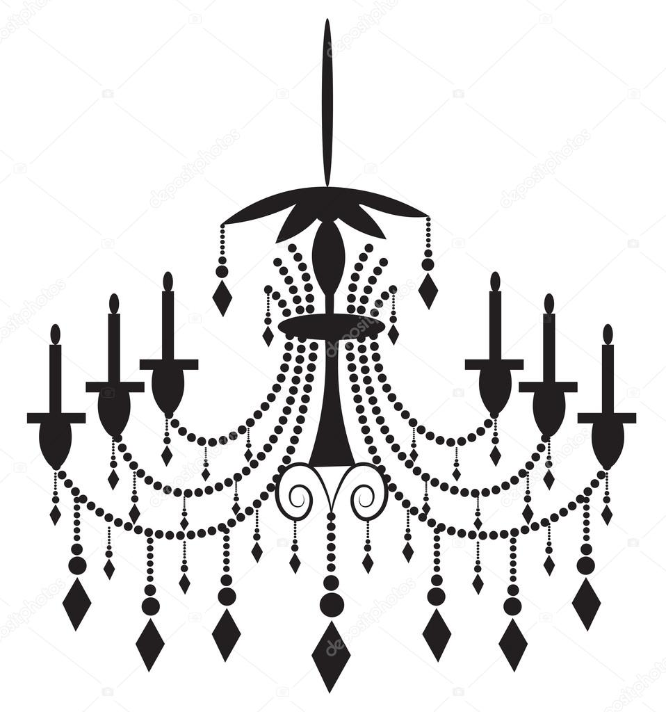 958x1024 Classic Chandelier On White Background Stock Vector Inagraur