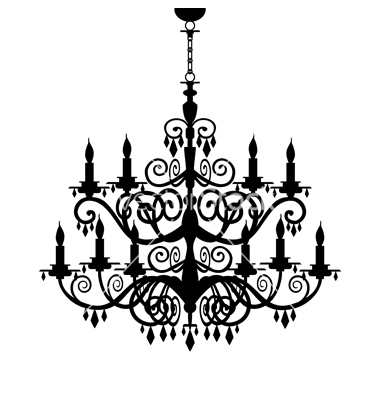 380x400 Vintage Halloween Silhouettes Chandelier Silhouette Vector
