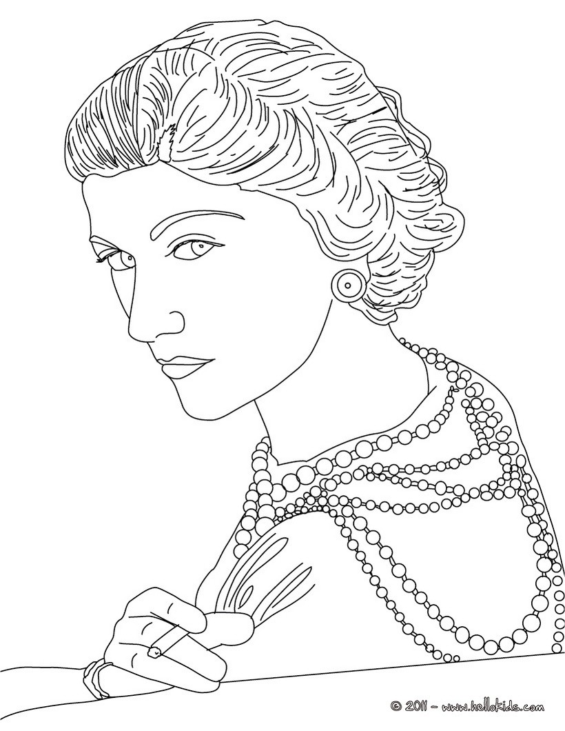820x1060 Coco Chanel French Designer Coloring Pages