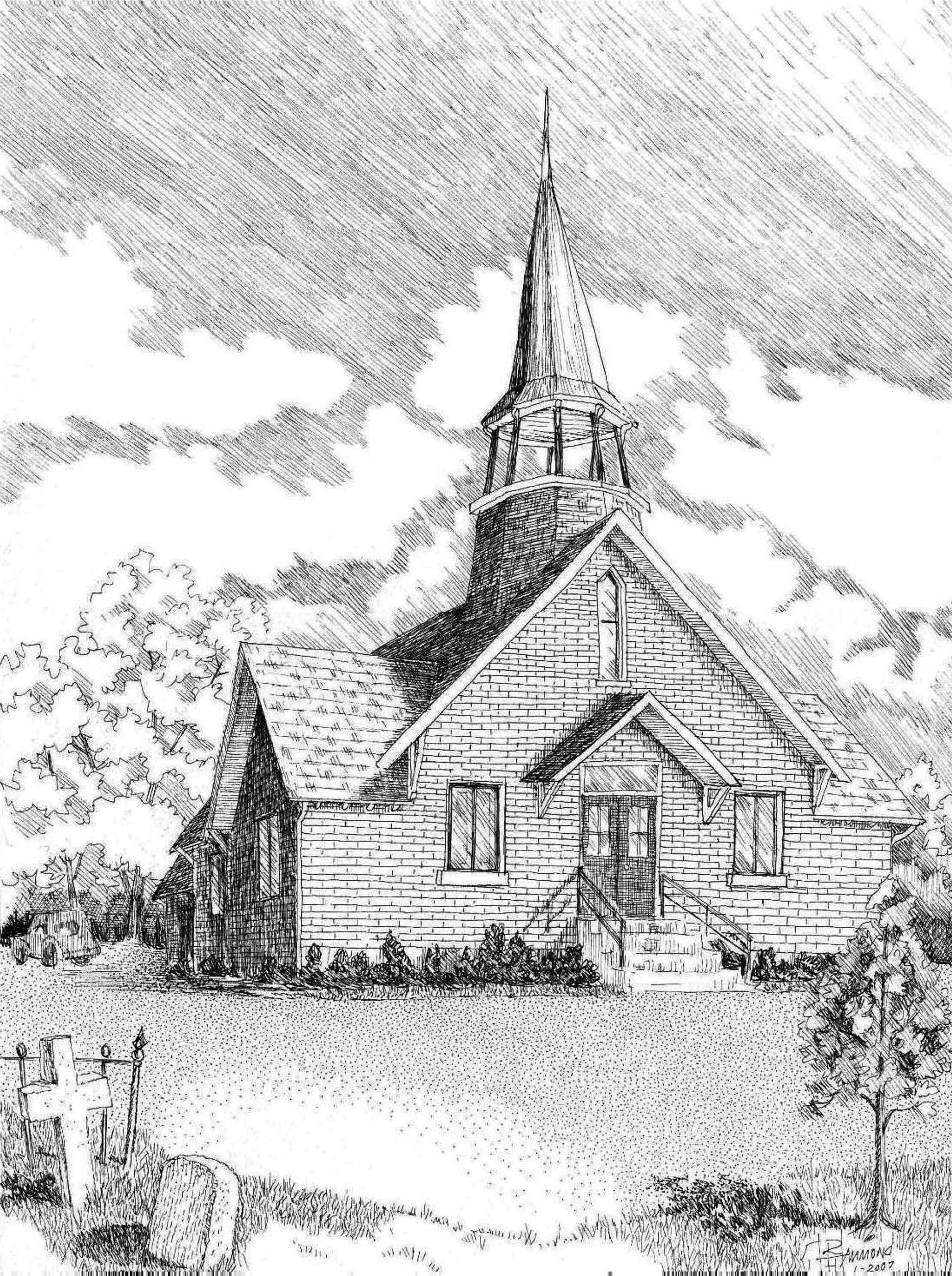 1920x2573 Saatchi Art Midway Methodist Chapel Drawing By Robert Hammond