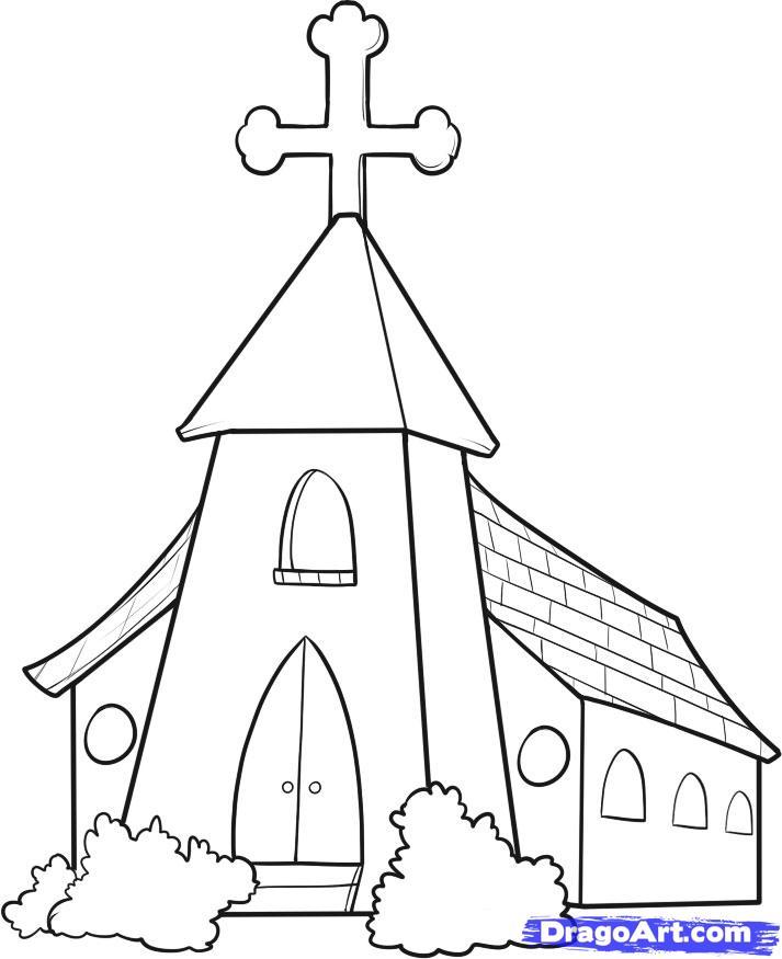 713x875 How To Draw A Church Step 7 Ideas Churches, Bible