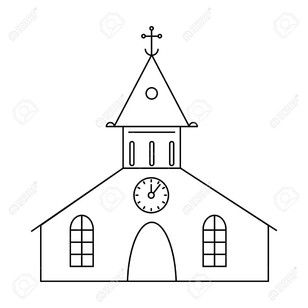1300x1300 Catholic Church Icon In Outline Style Isolated On White Background
