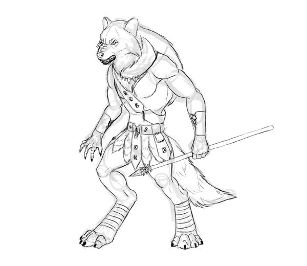 600x520 Design And Draw A Model Sheet Of A Werewolf Warrior