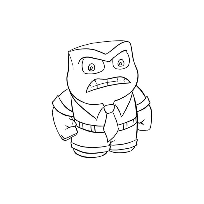 700x700 5 Steps To Draw A Cartoon Character Anger (Inside Out) Using