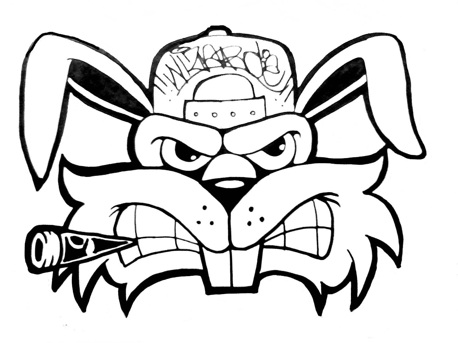 1600x1200 Graffiti Cartoon Drawings How To Draw A Crazy Rabbit (Graffiti