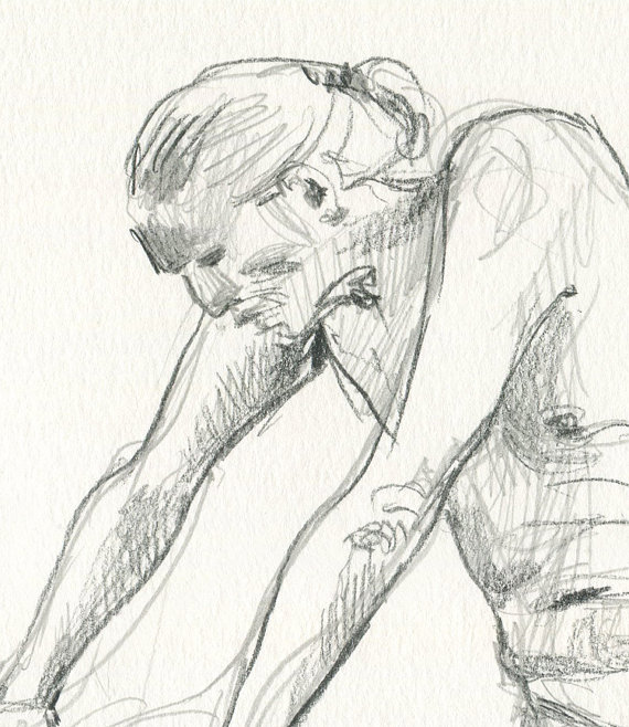 570x658 Male Nudity 5 Original Pencil Drawing Male Nude Man Art