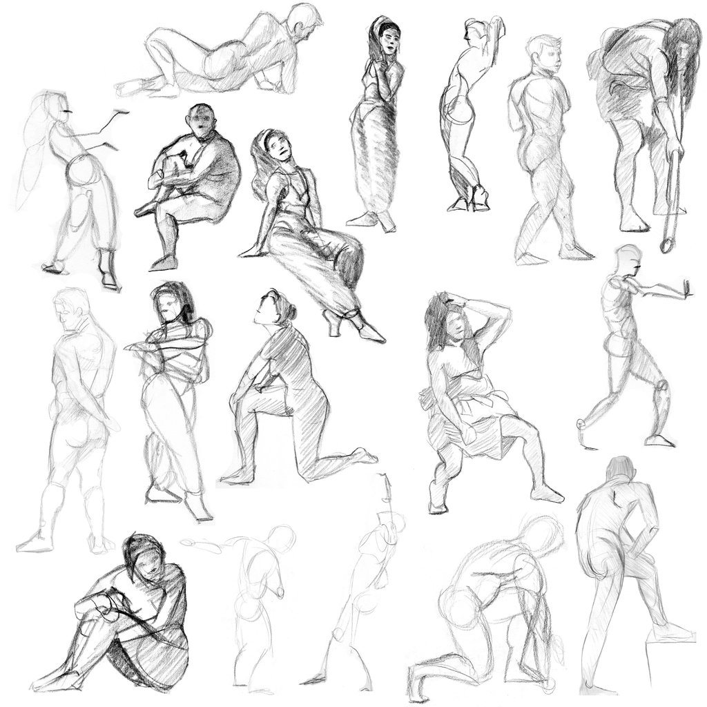1024x1024 Gesture Drawing 1 By Jat3dm