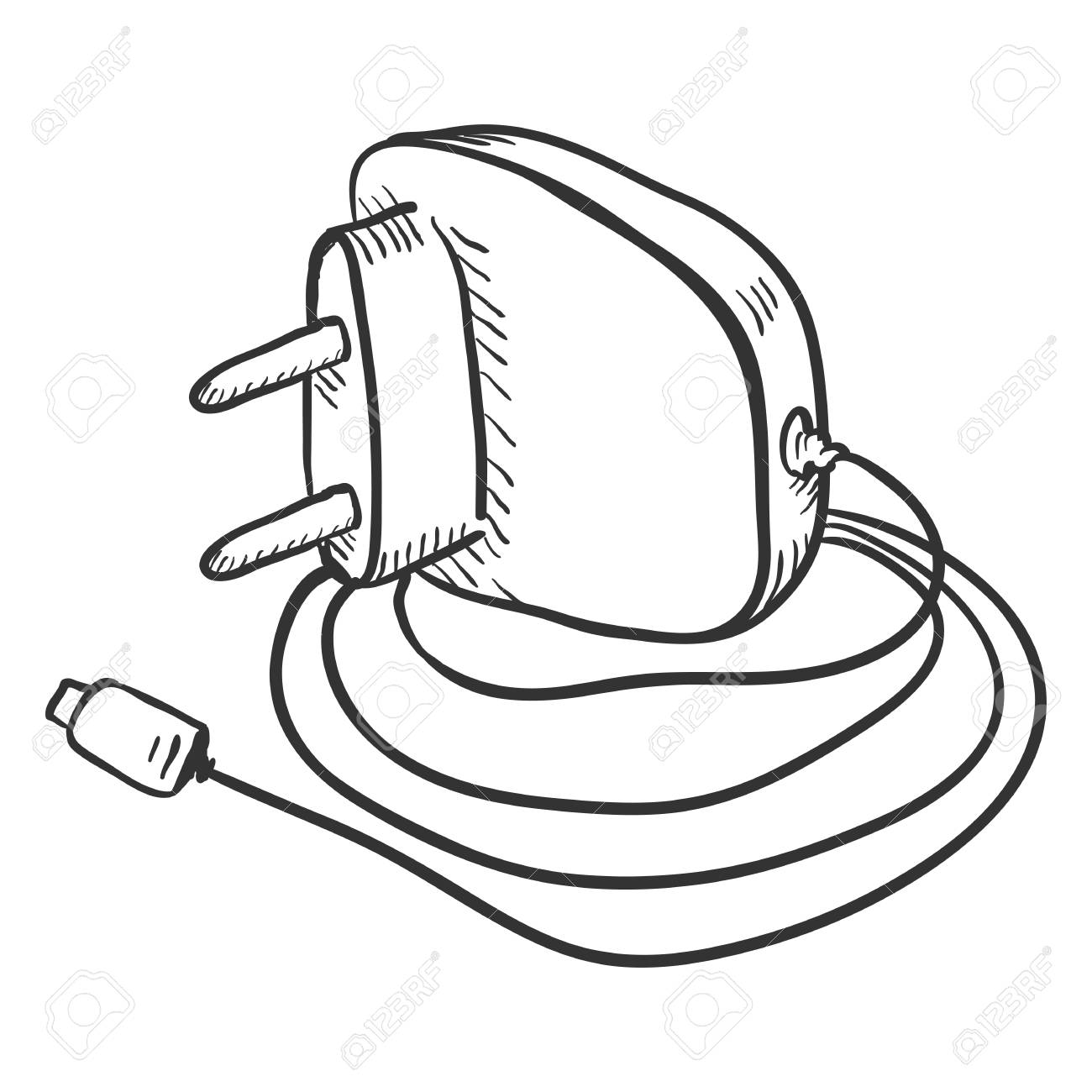 1300x1300 Vector Single Sketch Charger For Mobile Phones On White Background