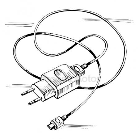 450x450 Vector Sketch Charger Usb Device Cable Stock Vector Roma79