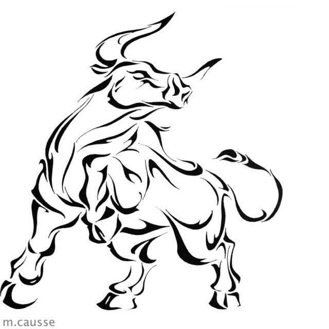 Charging Bull Drawing