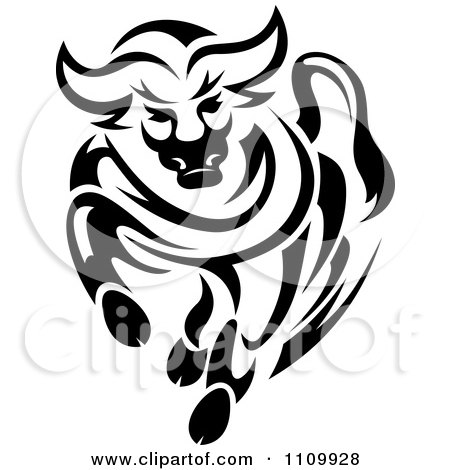 450x470 Clipart Black And White Charging Angry Bull
