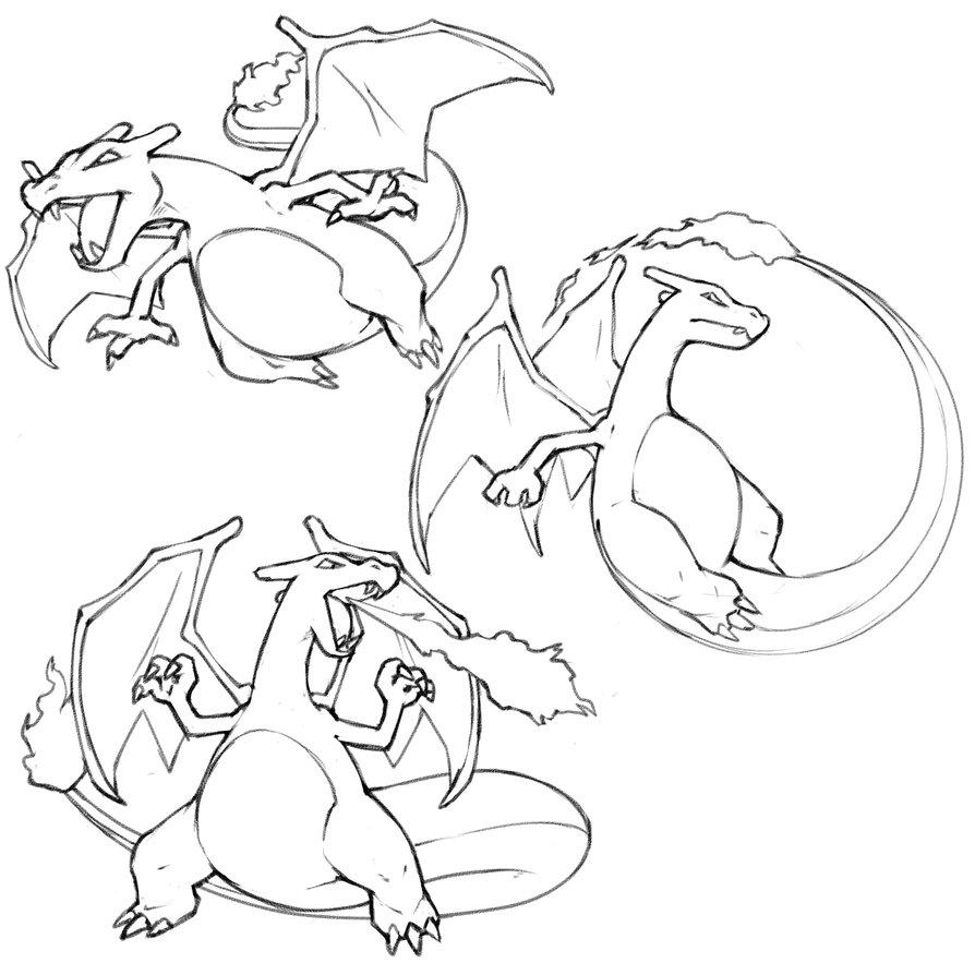 how to draw mega charizard z step by step