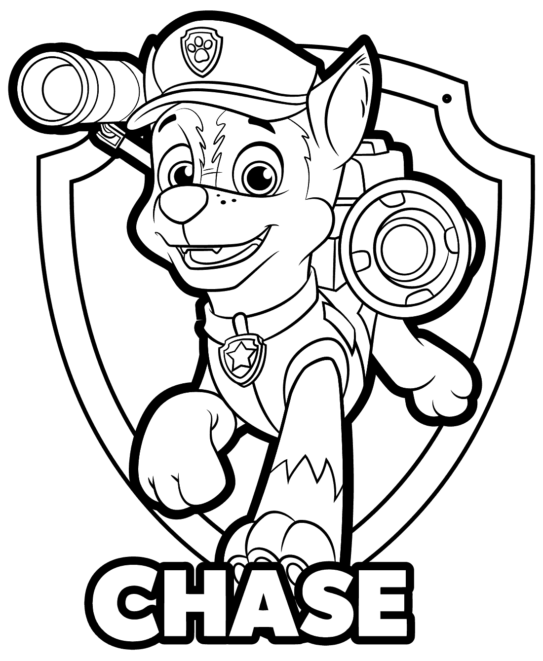 Chase paw patrol drawing at free for for Chase coloring page