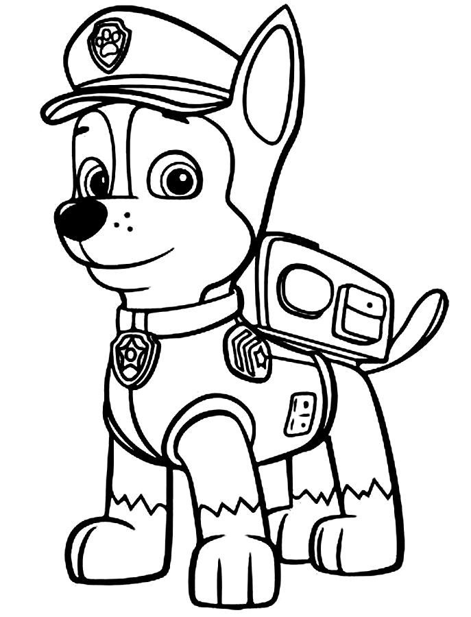 687x900 Paw Patrol Coloring Pages Chase For Kids