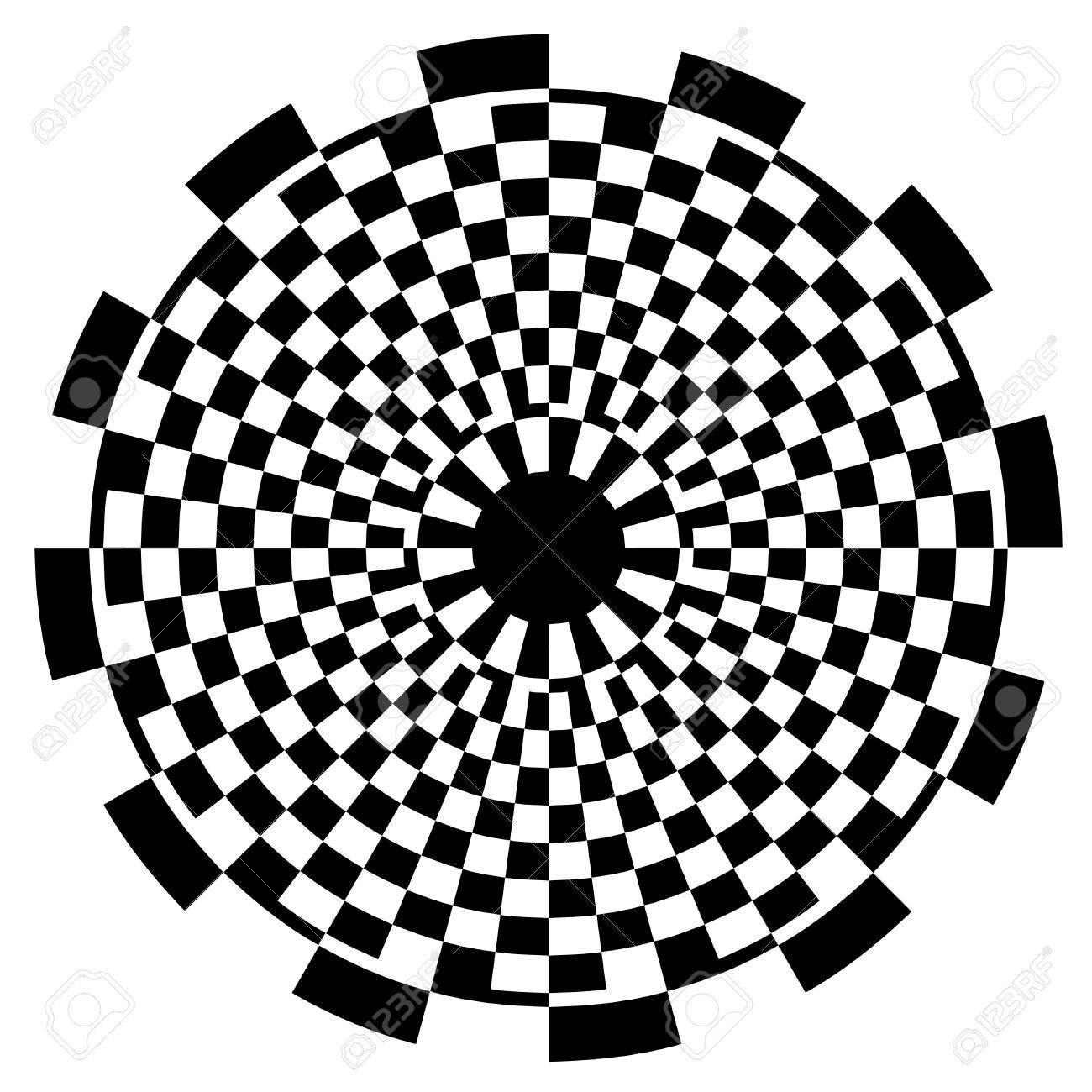 1300x1300 Checkerboard Spiral Design Illusion Background Pattern, Black
