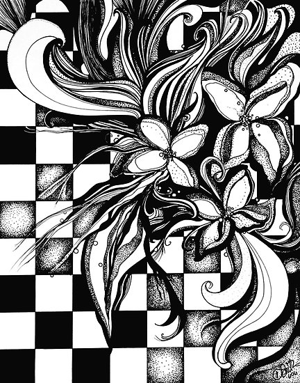 432x550 Pen And Ink Flowers On Checkerboard By Dj Smith Zentangle