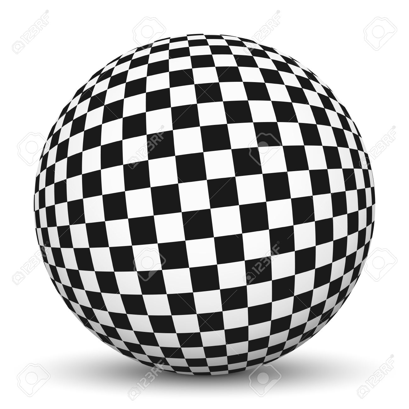 1300x1300 White 3d Sphere With Mapped Checkerboard Texture On White