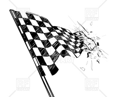 400x336 Drawing Checkered Flag In Dynamic Style Royalty Free Vector Clip