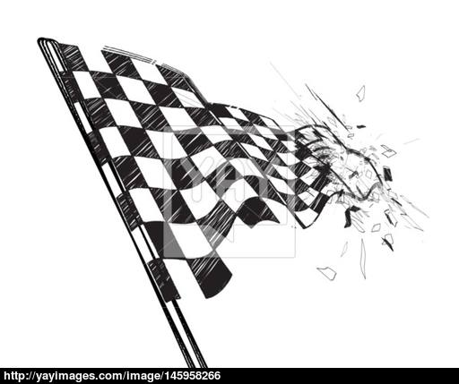 512x429 Drawing Checkered Flag With Tire Track Vector