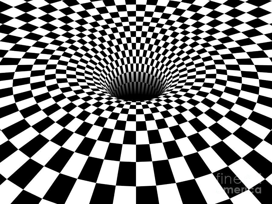 900x675 3d Checkered Black Hole