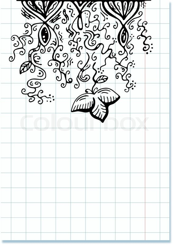 566x800 Sheet Of Checkered Paper With Creative Doodle Drawing Stock
