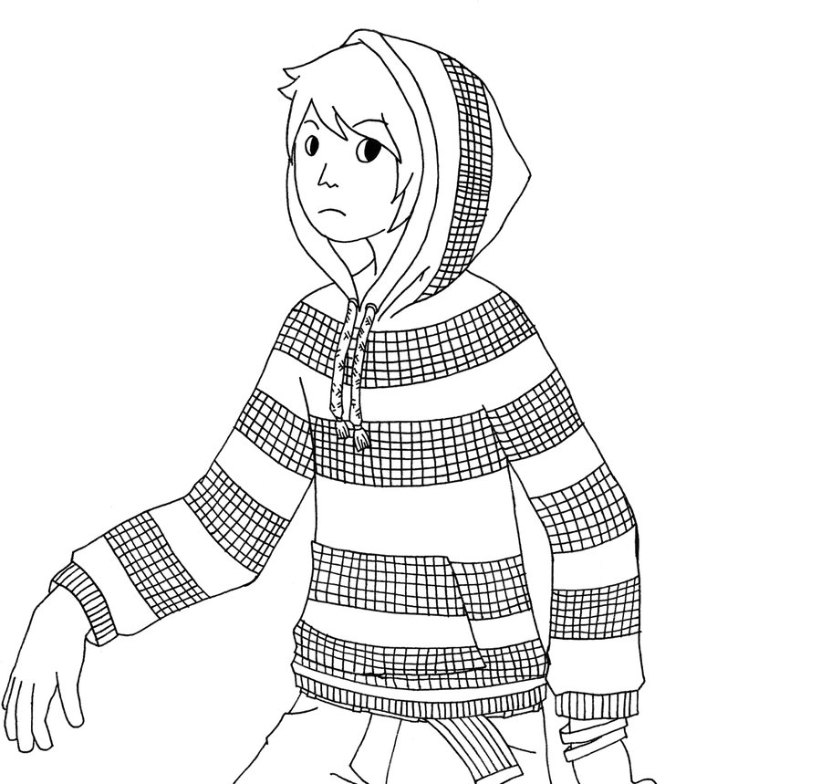 900x859 Boy With A Checkered Hoodie. By Hooful