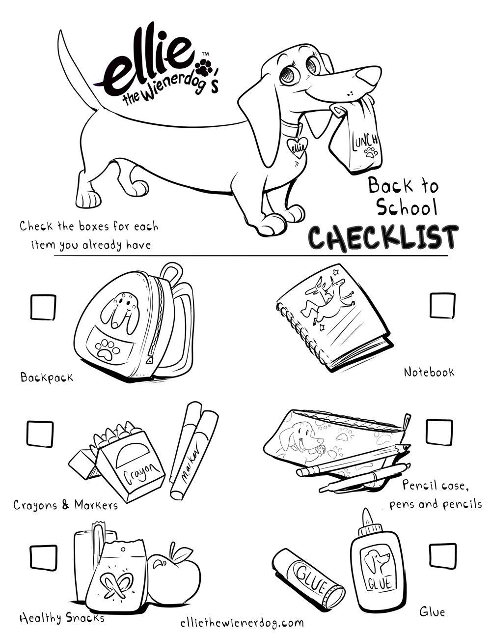 1000x1294 Ellie The Wienerdog Back To School Coloring Page Checklist Ellie