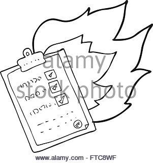 301x320 Freehand Drawn Cartoon Checklist Burning Stock Vector Art