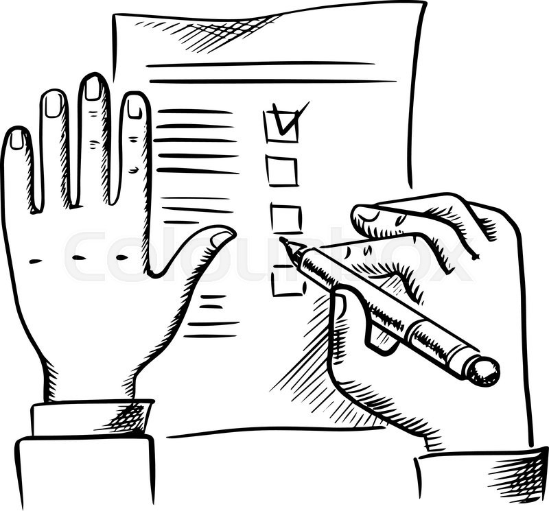 800x745 Businessman Filling Checklist Or To Do List With Pen, Sketch Style