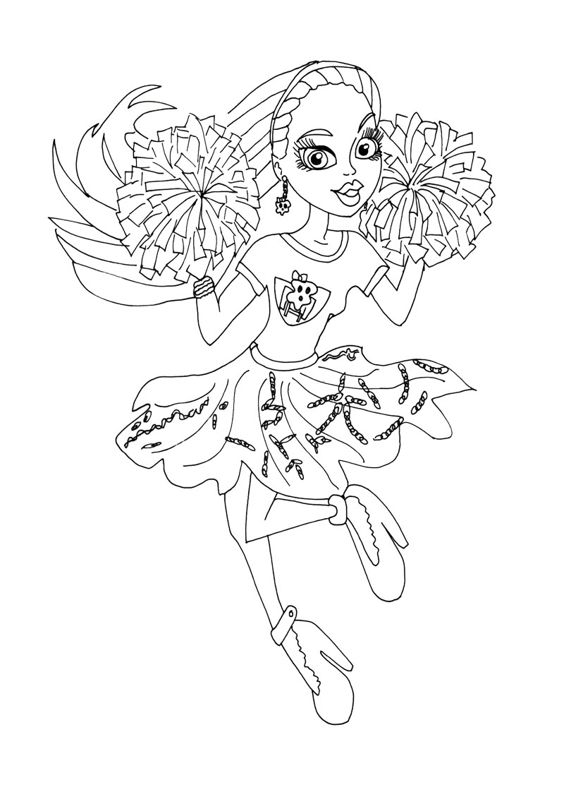800x1122 Abbey Bominable Dancers Cheer Coloring Page Monster High