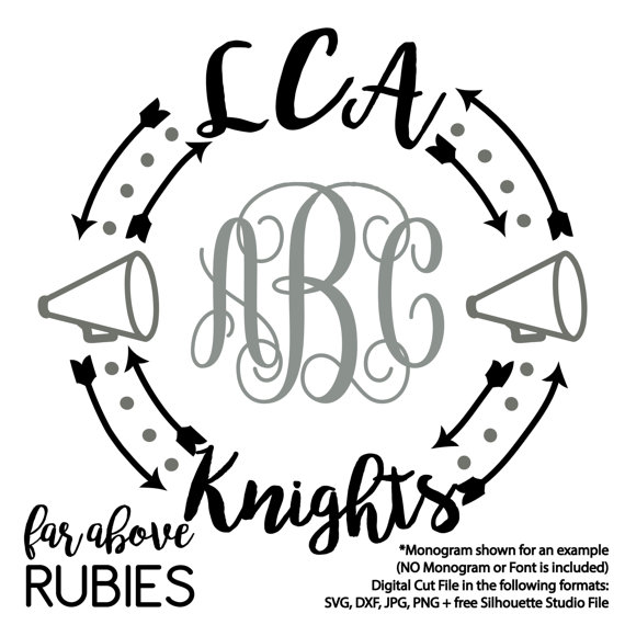 570x570 Lca Knights Cheer Megaphone Monogram Wreath Arrows (Monogram Not