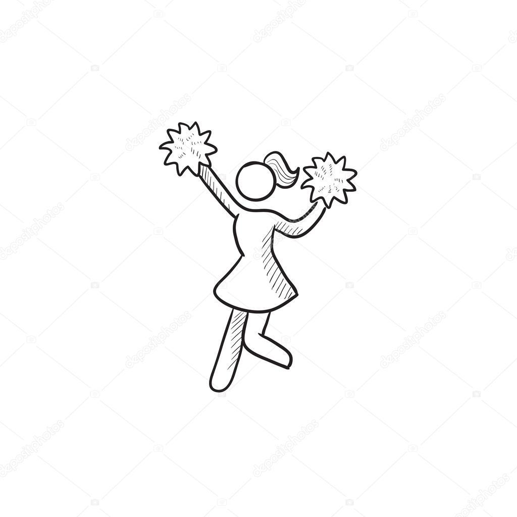 1024x1024 Cheerleader Sketch Icon. Stock Vector Rastudio